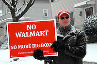 Sustainable Watertown protests the siting of a WalMart Big Box Store in a residential neighborhood in Watertown, MA 1.21.12