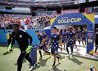 Nashville, TN - Saturday July 08, 2017: Sean Johnson, Jorge Villafana, Joe Corona, Gyasi Zardes and the USMNT during a 2017 Gold Cup match between the men's national teams of the United States (USA) and Panama (PAN) at Nissan Stadium.