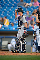 West Michigan Whitecaps catcher Austin Athmann (25) during the first game of a doubleheader against the Lake County Captains on August 6, 2017 at Classic Park in Eastlake, Ohio.  Lake County defeated West Michigan 4-0.  (Mike Janes/Four Seam Images)