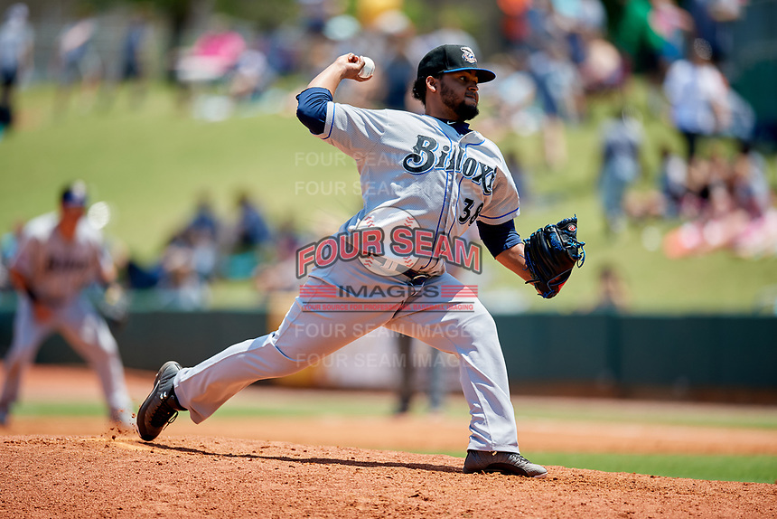 Biloxi Shuckers relief pitcher Angel Ventura (38) delivers a pitch during a game against the Montgomery Biscuits on May 8, 2018 at Montgomery Riverwalk Stadium in Montgomery, Alabama.  Montgomery defeated Biloxi 10-5.  (Mike Janes/Four Seam Images)