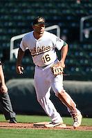Mesa Solar Sox infielder Matt Olson (16) during an Arizona Fall League game against the Surprise Saguaros on October 17, 2014 at Cubs Park in Mesa, Arizona.  Mesa defeated Mesa 5-3.  (Mike Janes/Four Seam Images)