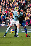 Maxi Gomez of RC Celta de Vigo (L) fights for the ball with Samuel Umtiti of FC Barcelona (R) during the La Liga 2017-18 match between FC Barcelona and RC Celta de Vigo at Camp Nou Stadium on 02 December 2017 in Barcelona, Spain. Photo by Vicens Gimenez / Power Sport Images