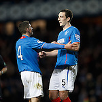 Fraser Aird celebrates with goalscorer Lee Wallace
