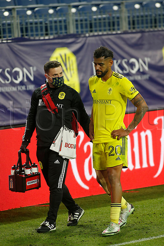 20th November 2020, Nashville, TN, USA;  Nashville SC midfielder Anibal Godoy leaves the field after suffering an injury during an MLS Cup Playoffs Eastern Conference Play-In game between Nashville SC and Inter Miami, November 20, 2020 at Nissan Stadium