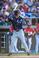 Northwest Arkansas Naturals infielder Bobby Witt Jr. (7) at bat against the Wichita Wind Surge at Riverfront Stadium on July 9, 2021in Wichita, Kansas. (William Purnell/Four Seam Images)