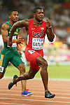 Justin Gatlin (USA), <br /> AUGUST 22, 2015 - Athletics : <br /> 15th IAAF World Championships in Athletics Beijing 2015 <br /> Men's 100m Heats <br /> at Beijing National Stadium in Beijing, China. <br /> (Photo by YUTAKA/AFLO SPORT)