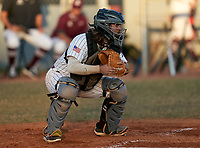 Braden River Pirates catcher Brady Jernigan (4) during a game against the Venice Indians on February 25, 2021 at Braden River High School in Bradenton, Florida. (Mike Janes/Four Seam Images)