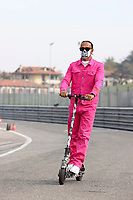 30th October 2020, Imola, Italy; FIA Formula 1 Grand Prix Emilia Romagna, inspection day;  44 Lewis Hamilton GBR, Mercedes-AMG Petronas Formula One Team arrives on a scotter to inspect the track