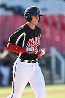 Ryan Cordell (9) of the High Desert Mavericks runs to first base during a game against the San Jose Giants at Mavericks Stadium on June 14, 2015 in Adelanto, California. High Desert defeated San Jose, 7-5. (Larry Goren/Four Seam Images)