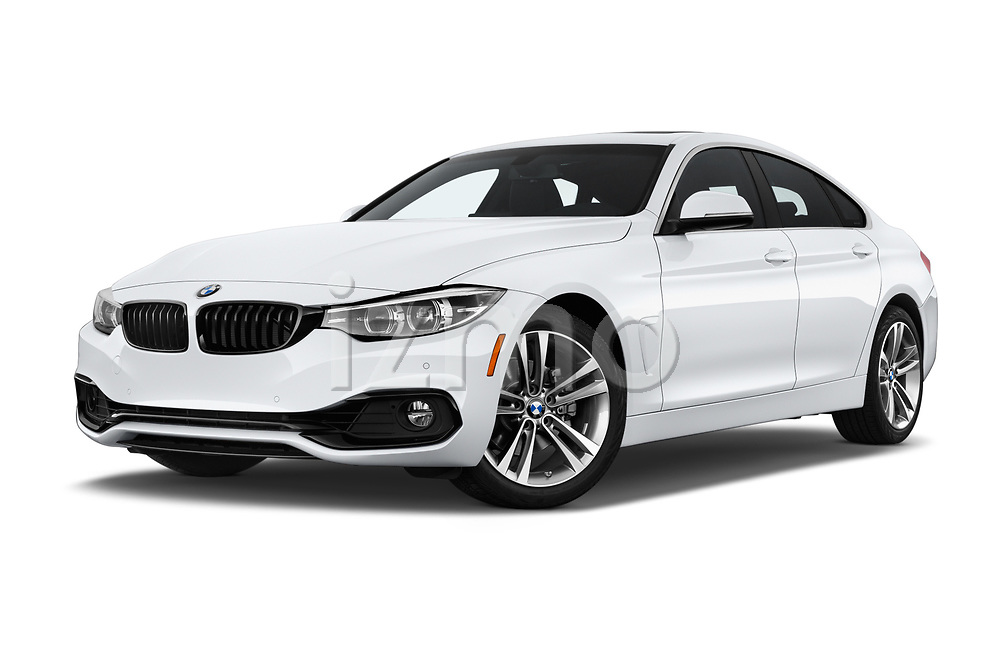 Stock pictures of low aggressive front three quarter view of a 2020 BMW 4 Series 430i Gran Coupe 5 Door Hatchback