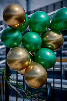 1 May 2021: Green and Gold Balloons are seen in the stands to celebrate Senior's Day prior to the University of Vermont Catamounts hosting a Men's Lacrosse game against the Stony Brook University Seawolves at Virtue Field in Burlington, Vermont. The Cats edged out the Seawolves 14-13 with less than one second to play in their America East Men's Lacrosse matchup. Mandatory Credit: Ed Wolfstein Photo *** RAW (NEF) Image File Available ***