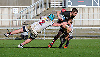 Tuesday 6th March 2019 | Ulster Schools Cup - Semi Final 1<br /> <br /> Jack Stinson is tackled by Adam Edgar and Sam Rainey during the Ulster Schools cup semi-final between Campbell College Belfast and the Royal School Armagh at Kingspan Stadium, Ravenhill Park, Belfast, Northern Ireland. Photo by John Dickson / DICKSONDIGITAL