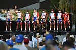 Groupama-FDJ on stage at the team presentation before the Tour de France 2020, Nice, France. 27th August 2020.<br /> Picture: ASO/Alex Broadway   Cyclefile<br /> All photos usage must carry mandatory copyright credit (© Cyclefile   ASO/Alex Broadway)