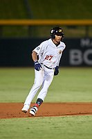 Mesa Solar Sox Jose Azocar (27), of the Detroit Tigers organization, leads off second base during an Arizona Fall League game against the Peoria Javelinas on September 21, 2019 at Sloan Park in Mesa, Arizona. Mesa defeated Peoria 4-1. (Zachary Lucy/Four Seam Images)