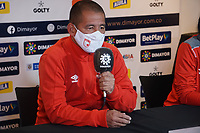 BOGOTA - COLOMBIA, 12-12-2020: Albeiro Erazo de Santa Fe durante rueda de prensa previo al encuentro entre Independiente Santa Fe Y América de Cali por la final vuelta como parte de la Liga Femenina BetPlay DIMAYOR 2020 en la ciudad de Bogotá. / Albeiro Erazo of Santa Fe during press conference prior a second leg final match between Independiente Santa Fe and America de Cali as part of Women's BetPlay DIMAYOR 2020 League in Bogota city. Photo: VizzorImage / Daniel Garzon / Cont