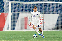 FOXBOROUGH, MA - AUGUST 7: Mateo Rodas #63 of Orlando City B brings the ball forward during a game between Orlando City B and New England Revolution II at Gillette Stadium on August 7, 2020 in Foxborough, Massachusetts.