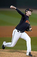 Pitcher Sean Heine (22) of the Maryland Terrapins in a game against the Michigan State Spartans on Saturday, March 6, 2021, at Fluor Field at the West End in Greenville, South Carolina. (Tom Priddy/Four Seam Images)