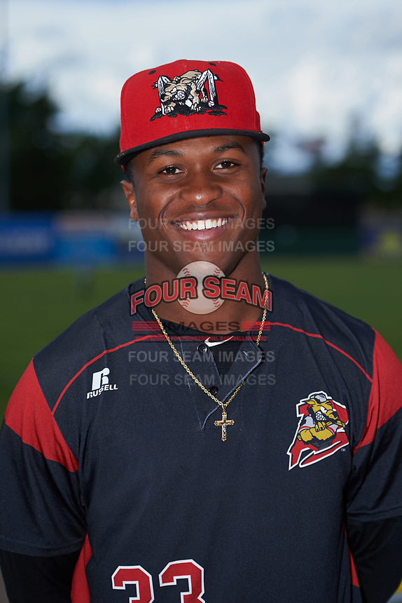 Batavia Muckdogs Terry Bennett (33) poses for a photo before a game against the West Virginia Black Bears on June 26, 2017 at Dwyer Stadium in Batavia, New York.  Batavia defeated West Virginia 1-0 in ten innings.  (Mike Janes/Four Seam Images)