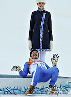 14.02.2014, Rosa Khutor Alpine Center, Krasnaya Polyana, RUSSIA, Sochi 2014 Olympic Games <br /> Olimpiadi Invernali 2014 <br /> Christof Innerhofer of Italy in action during the Downhill of the mens Super Combined <br /> Slalom Super Combinata  <br /> Christof Innerhofer Italia medaglia di Bronzo Esultanza sul podio <br /> Foto Insidefoto/EXPA/ Johann Groder