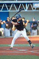 Zack Budzik (3) (UNC Greensboro) of the Guilford Lumberkings at bat against the Martinsville Mustangs at Hooker Field on July 11, 2020 in Martinsville, VA. The Mustangs defeated the Old North State League East All-Stars 14-6. (Brian Westerholt/Four Seam Images)