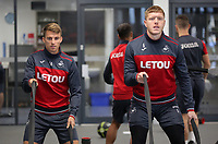(L-R) Tom Carroll and Alfie Mawson exercise in the gym during the Swansea City Training at The Fairwood Training Ground, Swansea, Wales, UK. Wednesday 01 November 2017