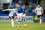 St Johnstone v Lask…26.08.21  McDiarmid Park    Europa Conference League Qualifier<br />Glenn Middleton is tackled by Jan Boller<br />Picture by Graeme Hart.<br />Copyright Perthshire Picture Agency<br />Tel: 01738 623350  Mobile: 07990 594431