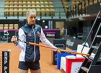 Arena Loire,  Trélazé,  France, 14 April, 2016, Semifinal FedCup, France-Netherlands, Dutch team warming up, Arantxa Rus <br /> Photo: Henk Koster/Tennisimages