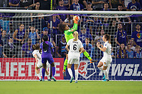 Orlando, FL - Saturday March 24, 2018: Utah Royals goalkeeper Abby Smith (1) makes a save during a regular season National Women's Soccer League (NWSL) match between the Orlando Pride and the Utah Royals FC at Orlando City Stadium. The game ended in a 1-1 draw.