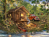 Dona Gelsinger, LANDSCAPES, LANDSCHAFTEN, PAISAJES, paintings+++++,USGE1936,#l#, EVERYDAY,lodge,oldtimer,vintage car,boat,lodge