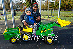 Ryan and Kai King enjoying the Tralee town park with his tractor on Saturday morning.