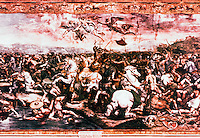 "Vatican:  Raphael Rooms-- ""The Battle of Milvian Bridge"",  a fresco by Raphael in one of the four rooms (Constantine)  of the Palace of the Vatican used as reception rooms.  High Renaissance period in Rome."