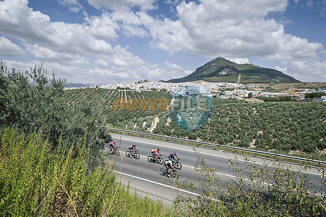 The breakaway during Stage 11 of La Vuelta d'Espana 2021, running 133.6km from Antequera to Valdepeñas de Jaén, Spain. 25th August 2021.     <br /> Picture: Unipublic/Charly Lopez | Cyclefile<br /> <br /> All photos usage must carry mandatory copyright credit (© Cyclefile | Charly Lopez/Unipublic)