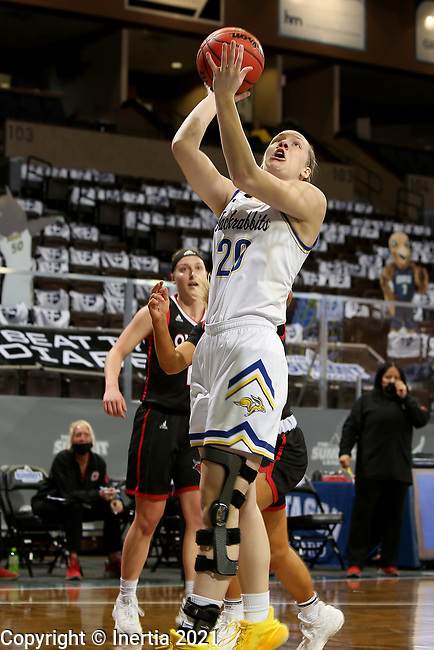SIOUX FALLS, SD - MARCH 6: Tori Nelson #20 of the South Dakota State Jackrabbits lays the ball up against the Omaha Mavericks during the Summit League Basketball Tournament at the Sanford Pentagon in Sioux Falls, SD. (Photo by Dave Eggen/Inertia)