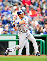 24 April 2010: Los Angeles Dodgers' infielder Casey Blake in action against the Washington Nationals at Nationals Park in Washington, DC. The Dodgers edged out the Nationals 4-3. Mandatory Credit: Ed Wolfstein Photo
