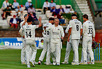 21st September 2021; Aigburth, Merseyside, England; County Championship Cricket, Lancashire versus Hampshire, Day 1; Lancashire celebrate after Matt Parkinson captures the wicket of Brad Wheal lbw and Hampshire are 132-9 after tea