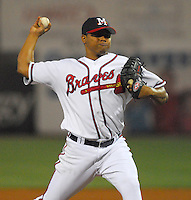 21 April 2007: Jose Ascanio of the Mississippi Braves, the Atlanta Braves' Class AA affiliate of the Southern League, in a game against the Birmingham Barons at Trustmark Park in Pearl, Miss. Photo by:  Tom Priddy/Four Seam Images