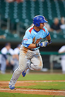 Tennessee Smokies designated hitter Willson Contreras (40) runs to first during a game against the Montgomery Biscuits on May 25, 2015 at Riverwalk Stadium in Montgomery, Alabama.  Tennessee defeated Montgomery 6-3 as the game was called after eight innings due to rain.  (Mike Janes/Four Seam Images)