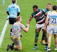 20th February 2021; Welford Road Stadium, Leicester, Midlands, England; Premiership Rugby, Leicester Tigers versus Wasps; Kini Murimurivalu of Leicester Tigers gives a helping hand to Tom Cruse of Wasps after the final whistle