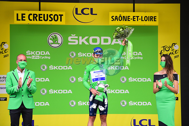 Mark Cavendish (GBR) Deceuninck-Quick Step retains the points Green Jersey at the end of Stage 7 of the 2021 Tour de France, running 249.1km from Vierzon to Le Creusot, France. 2nd July 2021.  <br /> Picture: A.S.O./Pauline Ballet | Cyclefile<br /> <br /> All photos usage must carry mandatory copyright credit (© Cyclefile | A.S.O./Pauline Ballet)