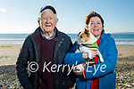 91 year old Liam Shanahan taking a stroll on Banna beach on Good Friday after his 2nd vaccine with his daughter Juliette McCrohan and Holly the dog.