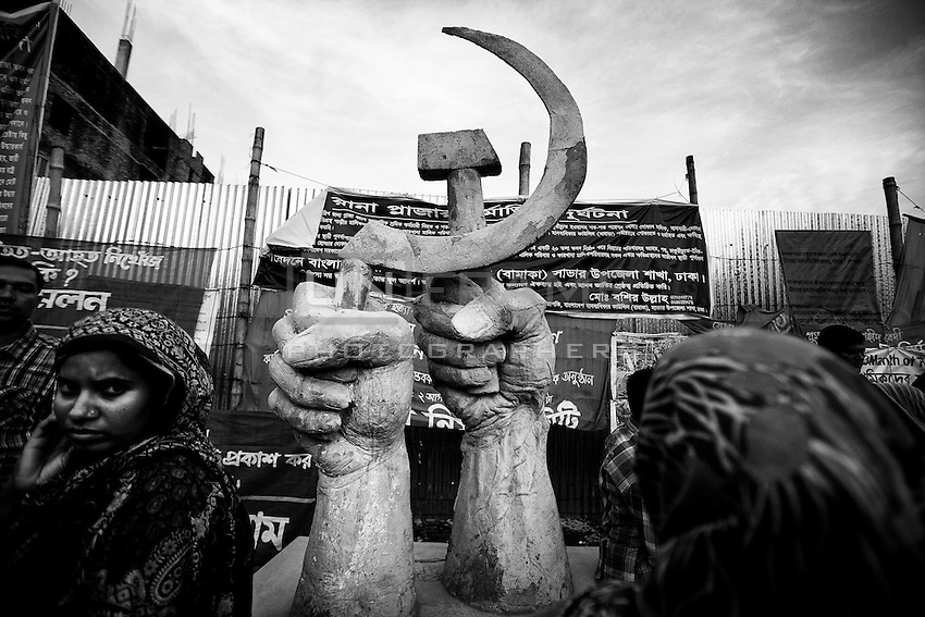 A monument, in memory of victims of Rana Plaza collapse, inaugurated on the 100th day of the tragedy. Savar, near Dhaka, Bangladesh