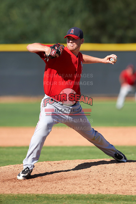 Los Angeles Angels minor league pitcher Chris O'Grady #27 during an instructional league game against the Arizona Diamondbacks at the Tempe Diablo Minor League Complex on October 1, 2012 in Tempe, Arizona.  (Mike Janes/Four Seam Images)