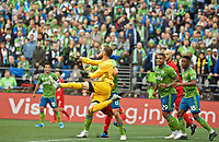 SEATTLE, WA - NOVEMBER 10: Seattle Sounders goalkeeper Stefan Frei #24 punches the ball away during a game between Toronto FC and Seattle Sounders FC at CenturyLink Field on November 10, 2019 in Seattle, Washington.