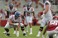 Ole Miss quarterback Matt Corral (2) calls plays, Saturday, October 17, 2020 during the third quarter of a football game at Donald W. Reynolds Razorback Stadium in Fayetteville. Check out nwaonline.com/201018Daily/ for today's photo gallery. <br /> (NWA Democrat-Gazette/Charlie Kaijo)