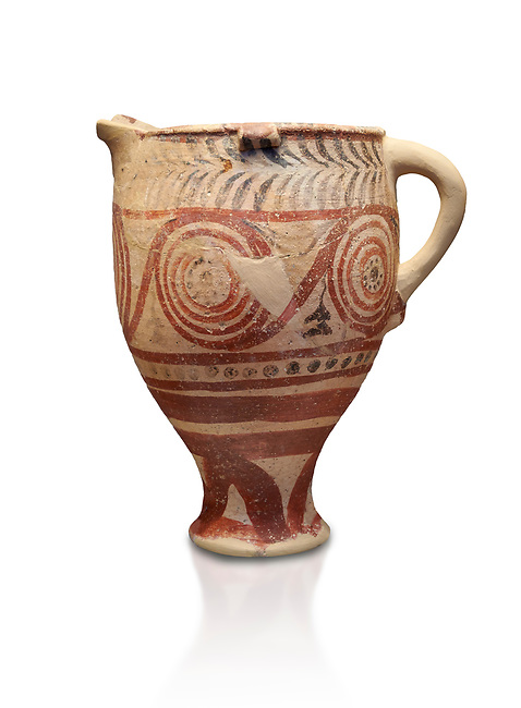 Cycladic spouted cup with floral and net pattern.   Cycladic (1650-1450 BC) , Phylakopi III, Melos. National Archaeological Museum Athens. Cat no 5755.   White background.<br /> <br /> <br /> Ceramic shapes and painted style are heavily influenced by Minoan styles during this period. Dark floral and spiral patterns are painted over a lighted backgound with wavy bands.