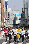Feb. 27, 2011 - Tokyo, Japan - Thousands of runners race through the Ginza district part of town during the Tokyo Marathon. (Photo by Daiju Kitamura/AFLO SPORT)