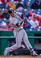 15 April 2018: Colorado Rockies shortstop Trevor Story in action against the Washington Nationals at Nationals Park in Washington, DC. All MLB players wore Number 42 to commemorate the life of Jackie Robinson and to celebrate Black Heritage Day in pro baseball. The Rockies edged out the Nationals 6-5 to take the final game of their 4-game series. Mandatory Credit: Ed Wolfstein Photo *** RAW (NEF) Image File Available ***
