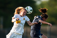 Western New York Flash defender Alex Sahlen (2) goes up for a header with Sky Blue FC forward Lisa De Vanna (11). The Western New York Flash defeated Sky Blue FC 3-0 during a National Women's Soccer League (NWSL) match at Yurcak Field in Piscataway, NJ, on June 8, 2013.