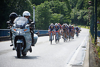 Gaetan Bille (BEL/Wanty-Groupe Gobert) & Dimitri Claeys (BEL/Wanty-Groupe Gobert) in front of a chasing peloton<br /> <br /> Belgian National Road Cycling Championships 2016<br /> Les Lacs de l'Eau d'Heure
