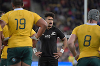 All Blacks' Ardie Savea in action during the All Blacks v Wallabies. The Rugby Championship & Bledisloe Cup at Westpac Stadium, Wellington, New Zealand on Saturday 27 August 2016.<br /> Photo by Masanori Udagawa. <br /> www.photowellington.photoshelter.com.